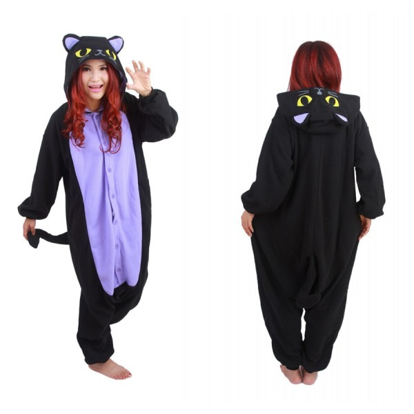 Free Shipping Hot New Adult Animal Onesie The Midnight Cat Onesie