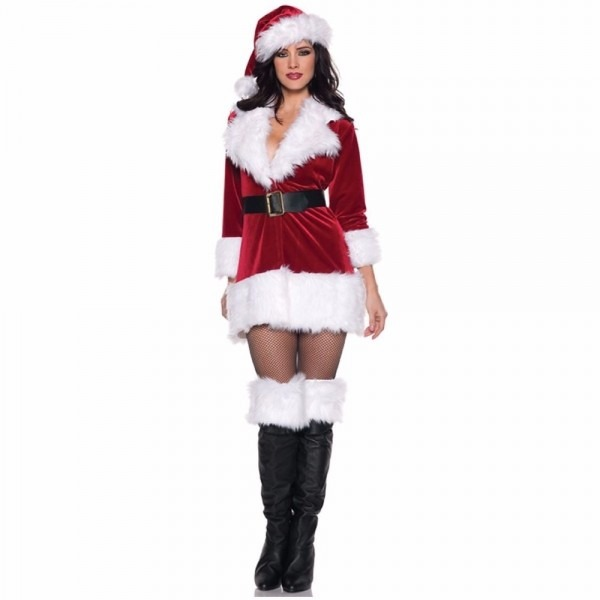 Free Shipping Sexy Santa Outfit Mrs Claus Costume Adult Christmas