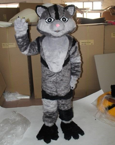 Furry Grey Cat Mascot Costume For Adults