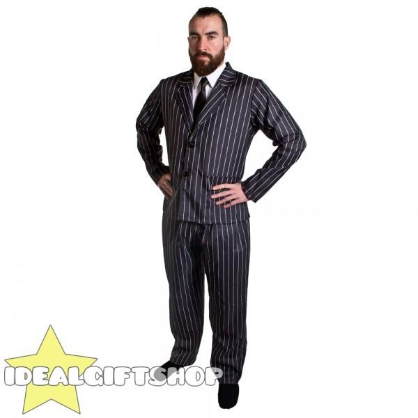 Mens 1920's Pinstripe Gangster Suit Adults Fancy Dress Costume