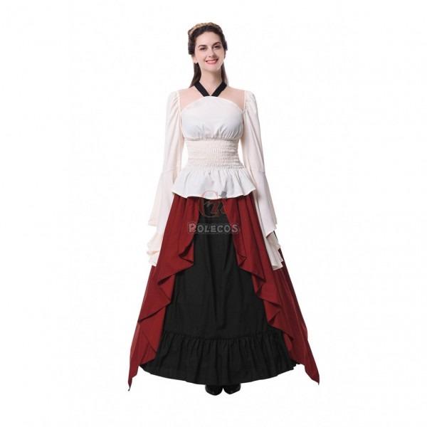 Women's Vintage Medieval Renaissance Costumes Long Dress Cosplay