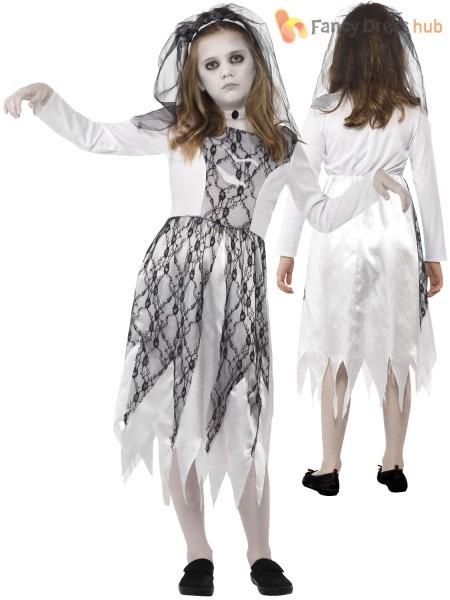 Girls Ghost Zombie Corpse Bride Fancy Dress Up Halloween, Bride