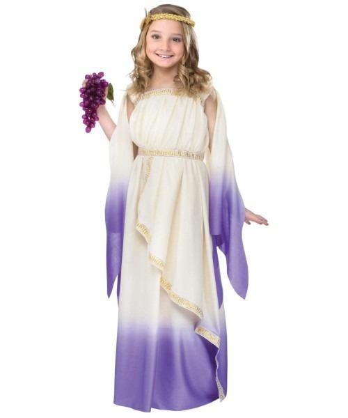 Goddess Cream Purple Ombre Child Costume