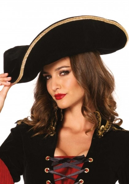 Gold Trim Velvet Pirate Hat