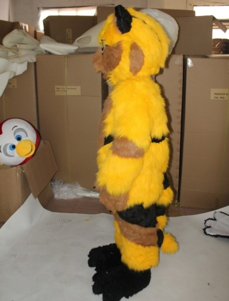 2018【top Sale】yellow Furry Cat Mascot Costume For Adults To Wear