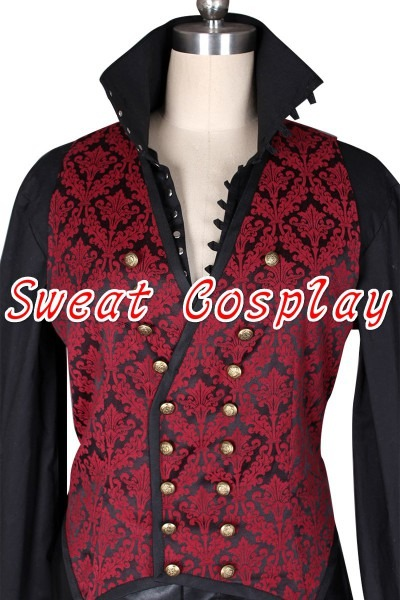 High Quality Once Upon A Time Captain Hook Cosplay Costume Black