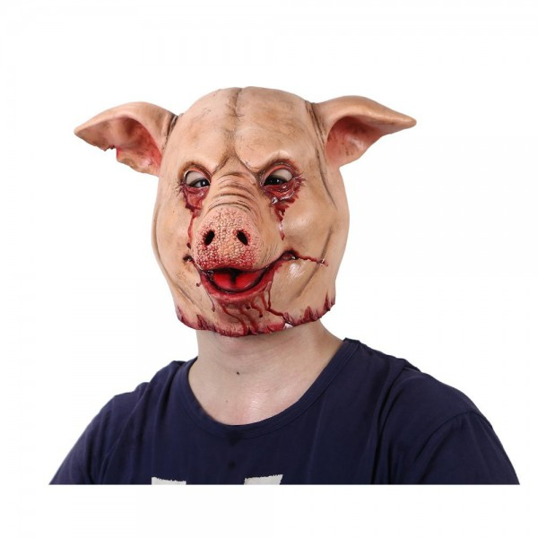 Horror Pig Overhead Animal Mask Latex Pig Mask Halloween Costume