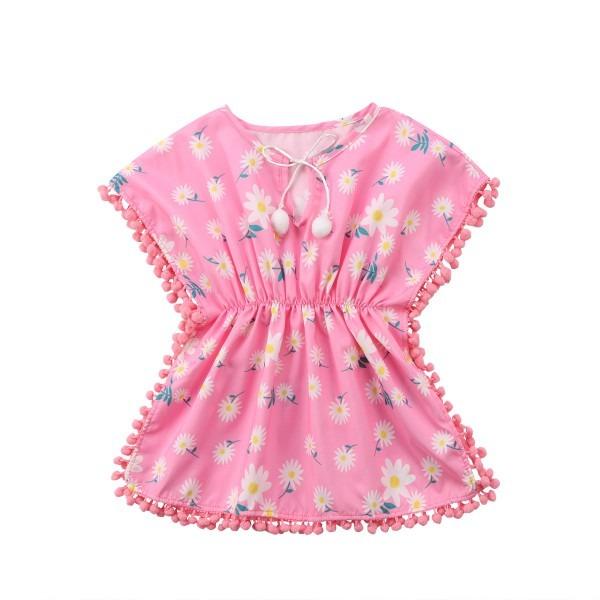 Hot Sale Kids Baby Girls Dress Tassel Floral Beach Cover Ups Beach