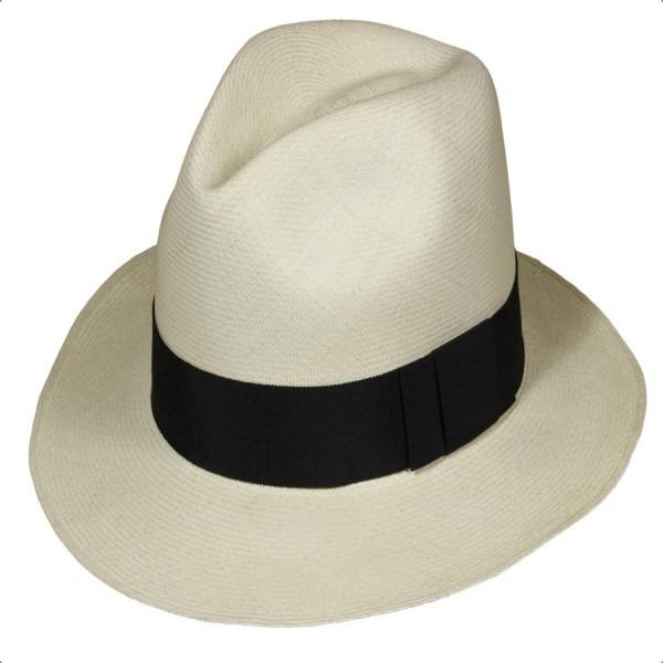 White Felt Hillbilly Flat Top Fedora Hat With Black Band Qhat