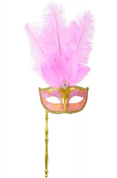 Buy Coxeer Masquerade Mask On Stick Halloween Costume Feather Mask