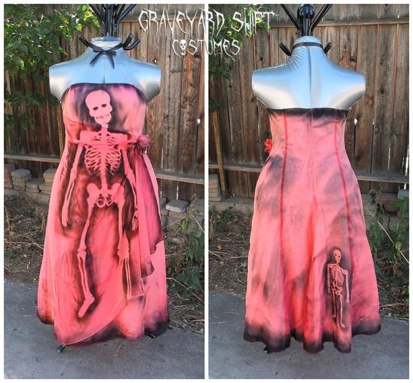 Plus Size 16 Zombie Halloween Costume Dead Prom Queen Peach
