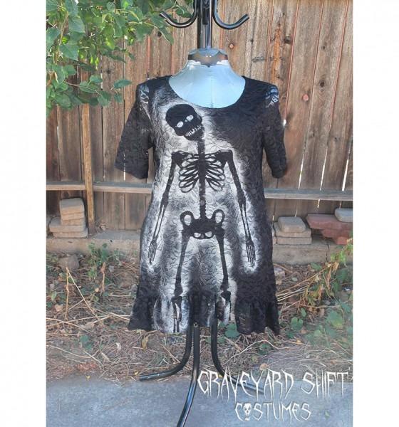 Mardi Gras Plus Size Xl Zombie Pin Up Dress Black Lace Party