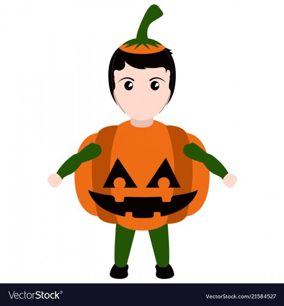 Kid With A Pumpkin Costume Halloween Royalty Free Vector