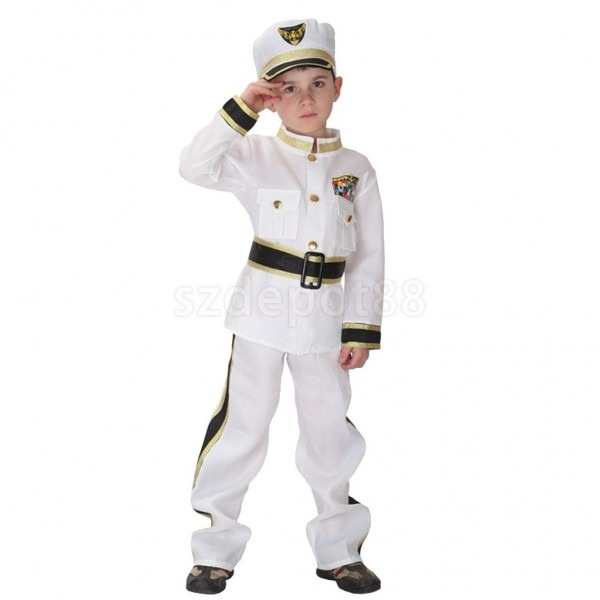 Kids Boy White Navy Costume Sailor Marine Uniform Halloween Fancy
