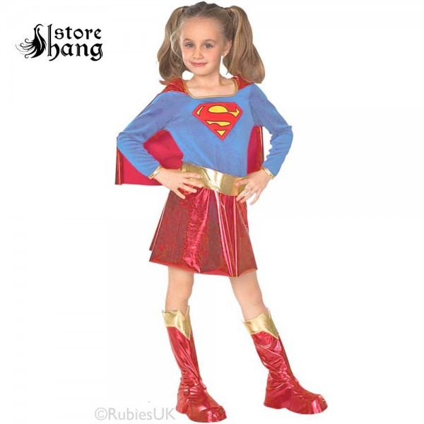 Kids Supergirl Costume Set Baby Girl Superhero Role Play Dress