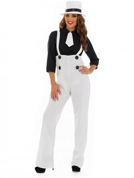 Buy Lady Gangster Costume White