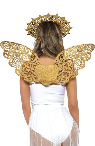 Gold Angel Wings And Halo Fancy Dress