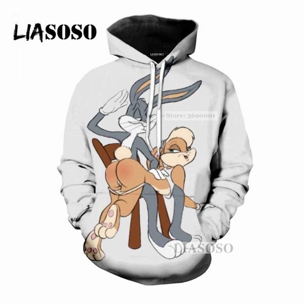 2019 Liasoso 2018 New Cartoon Cute Bugs Bunny 3d Print Women Men