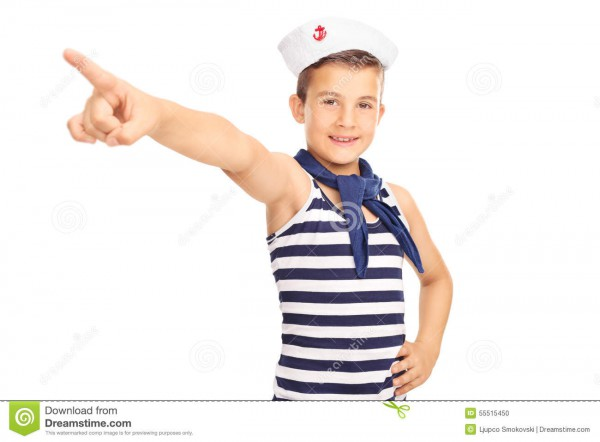 Little Kid In A Sailor Costume Pointing Forward Stock Photo