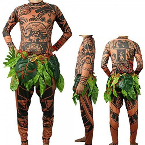 Moana Maui Tattoo T Shirt Pants Halloween Adult Mens Women Cosplay