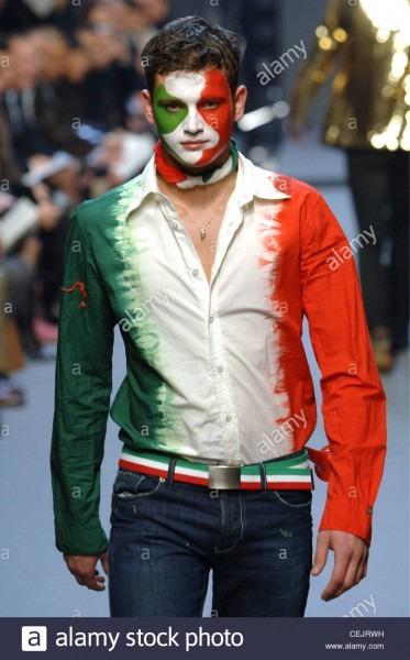 Moschino Menswear Milan A W Italian Football Fan Motif  Brunette
