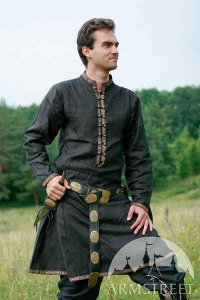 Medieval Or Elven Prince Fantasy Natural Flax Linen Tunic For Sale