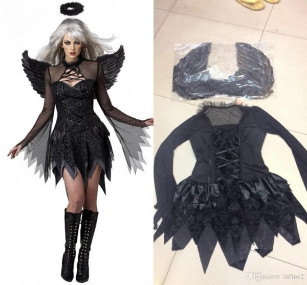 New Black Dark Devil Fallen Angel Costume With Wing Sexy Adult