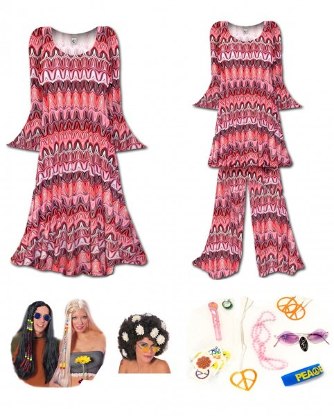 Sale! Psychedelic Red Swirl Print Plus Size Hippie Costume