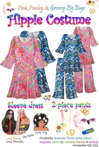 Sold Out! Sale! Plus Size Hippie Costume In Pink Paisley And