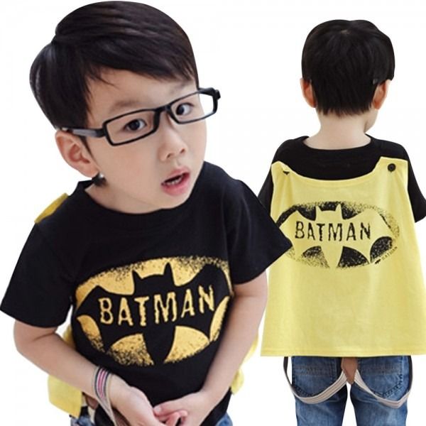 New Summer Child Clothes Children's T Shirts Cool Batman Cape Boy