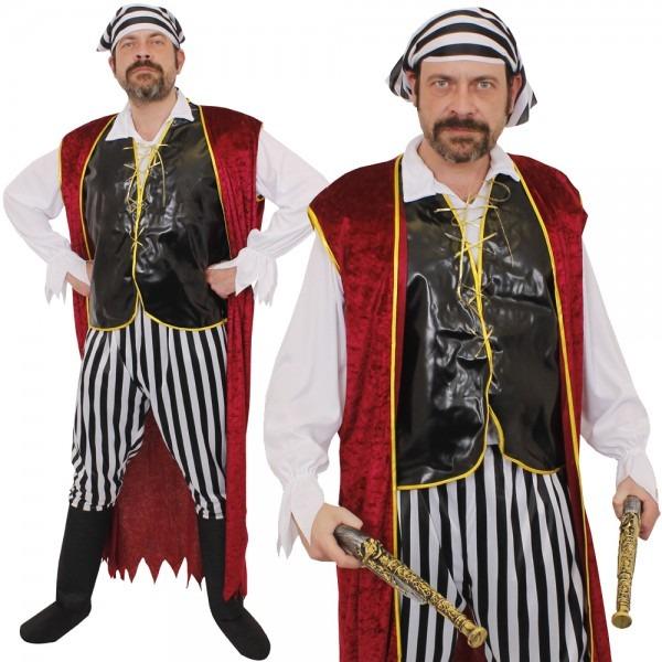 Mens Pirate Costume Fancy Dress Adults Caribbean Swashbuckler