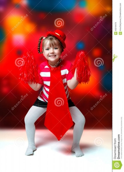 Portrait Of Little Girl In Carnival Costume On Abstract Backgrou
