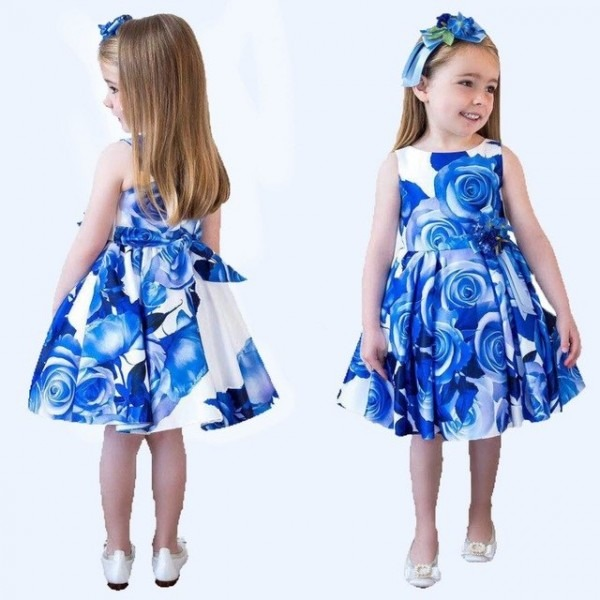Princess Dress Children Costumes 2017 Summer Girls Cotton Rose