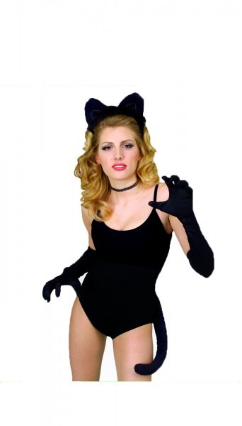Adult Womens Deluxe Black Cat Halloween Costume Accessory Kit