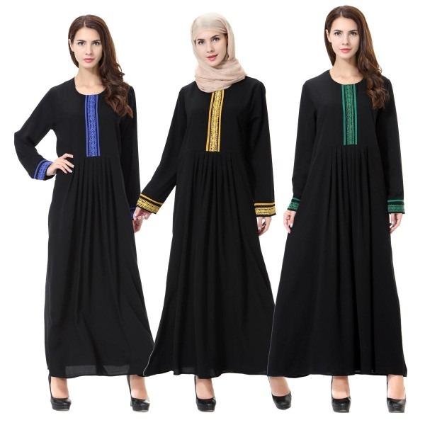 Fashion Muslim Prayer Female Chiffon Dresses Abaya Long Sleeve