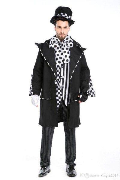 Halloween Carnival Costumes Adult Men Magician Chaplin Dark Mad