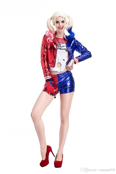 Adult Female Suicide Squad Harley Quinn Costume Cosplay Full Set