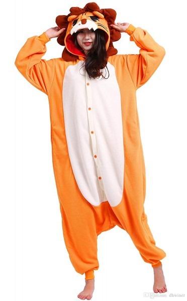 Unisex Adult Animal Pajamas Plush One Piece Cosplay Lion Four