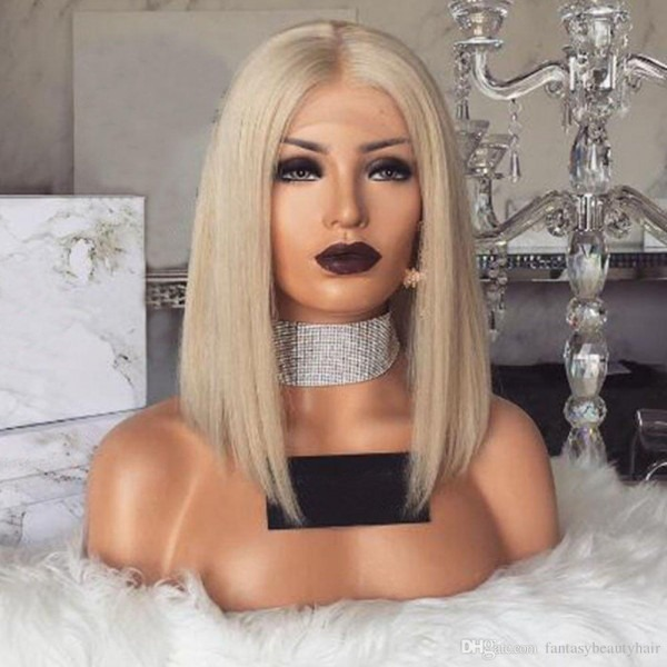 Glueless Lace Front Blond Human Hair Bob Wigs With Baby Hair Pre