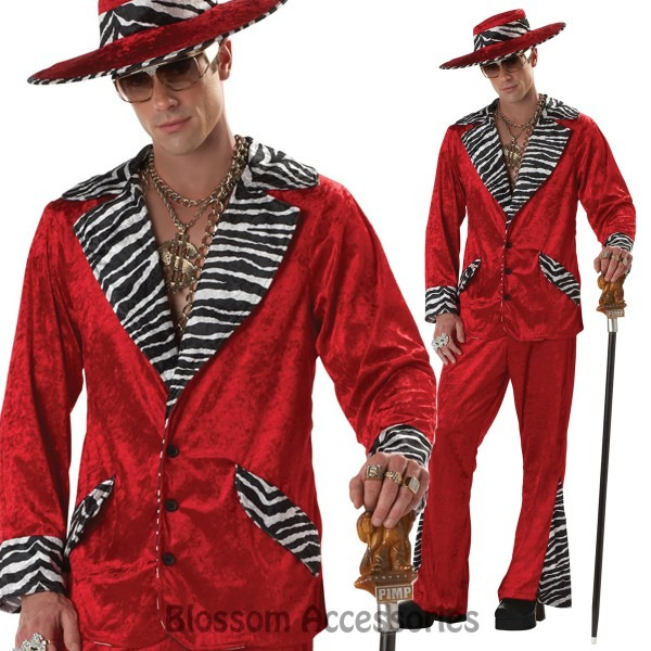 C35 Red Mens Pimp Velvet Gangster 1920s Suit Gatsby Hallowen Fancy