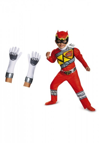 Red Power Rangers Dino Charge Boys Toddler Costume And Gloves Set