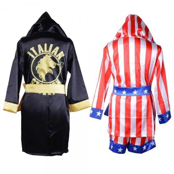 Rocky Italian Stallion Movie Boxing Robe Costume Kids Apollo Rocky