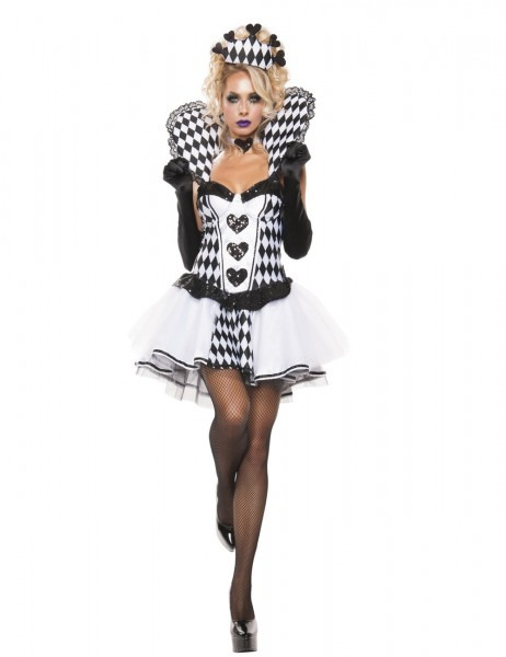 Chess Queen Costume, Sexy White Queen Of Hearts Costume, Alice In