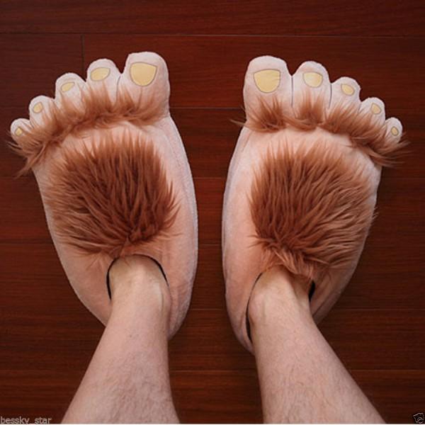Women Men Creative Funny Cute Plush Slipper Big Feet Slippers