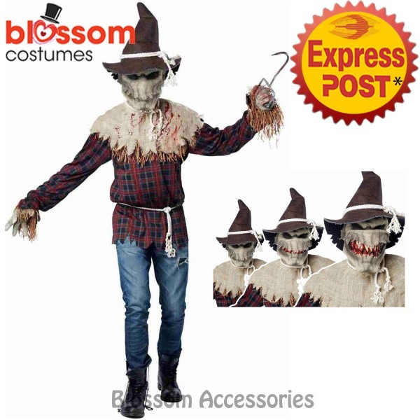 Cl536 Sadistic Scarecrow Mens Halloween Scary Horror Costume Ani