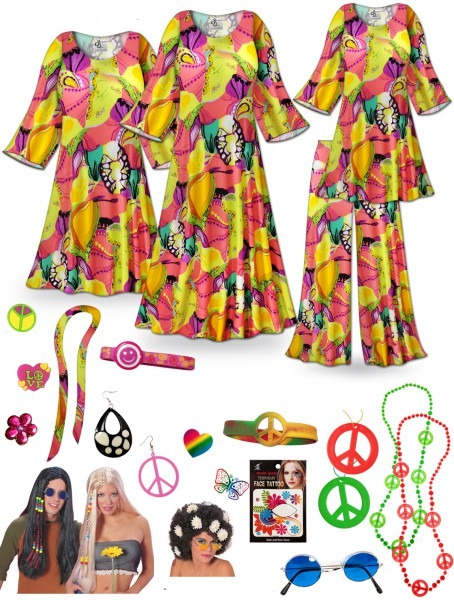 Sold Out! Clearance! Lava Love Print Hippie Costume