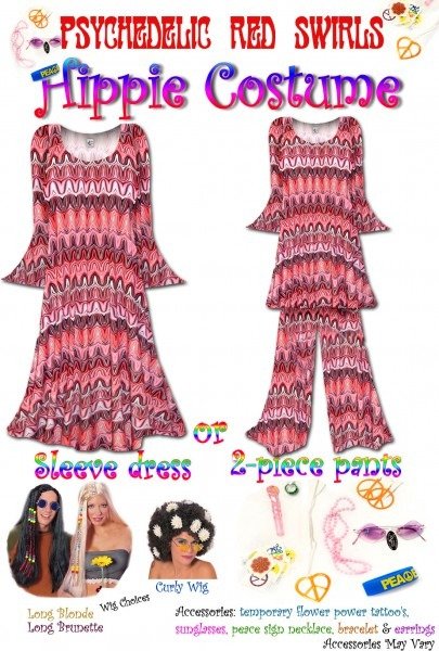 Sold Out! Hippie Costume Psychedelic Red Swirl Print
