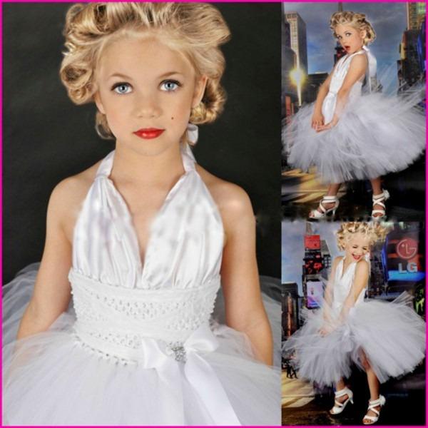 Sexy V Neck White Color Marilyn Monroe Cosplay Tutu Dress Girl