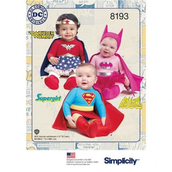 Simplicity Sewing Pattern Dc Comics Babies Wonder Woman Supergirl