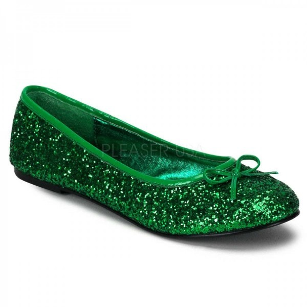 Star Green Glittered Ballet Flat Shoe Covered With Sparkling Glitter